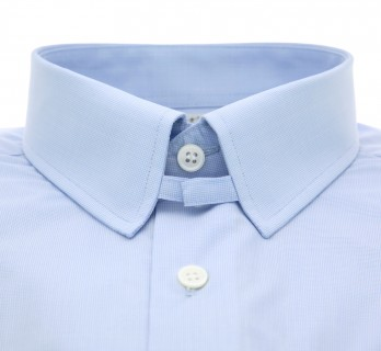 Sky blue houndstooth tab collar French cuff shirt slim fit