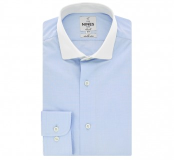 Sky blue houndtooth rounded shark collar shirt slim fit