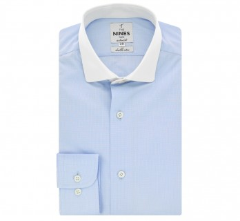Sky blue houndtooth rounded shark collar shirt tailored fit