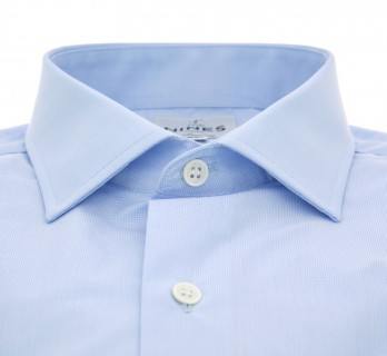 Sky blue houndstooth shark collar shirt slim fit