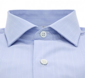 Sky blue Prince of Wales shark collar shirt slim fit