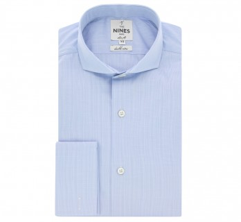Sky blue Prince of Wales cutaway collar shirt French cuff shirt slim fit