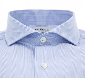 Sky blue Prince of Wales cutaway collar shirt French cuff shirt tailored fit