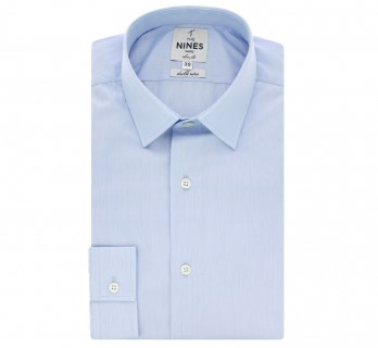 Blue Japanese collar shirt fine stripes slim fit