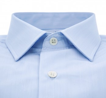 Tailored fit blue fine stripes japanese collar shirt