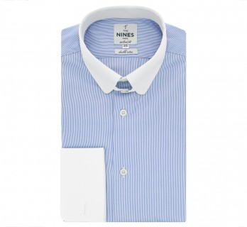 Blue rounded tab collar French cuff shirt with stripes tailored fit