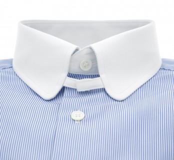Slim fit blue stripes rounded tab collar shirt