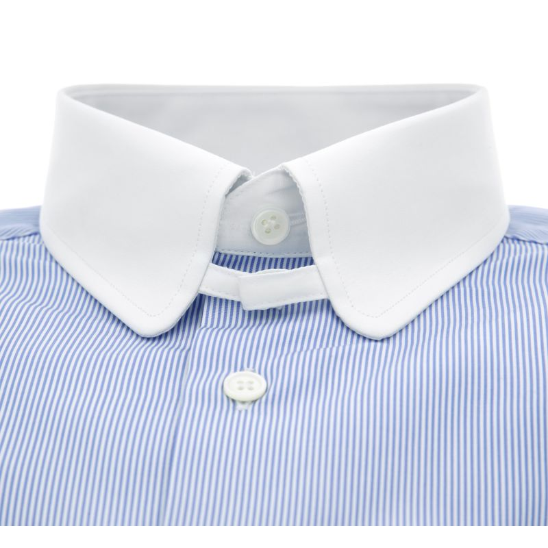 Slim Fit Blue Stripes Rounded Tab Collar Shirt Formal Shirts