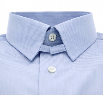 Slim fit skyblue fine stripes tab collar shirt