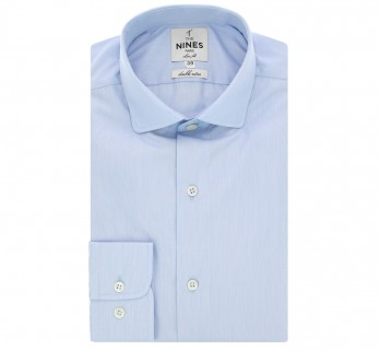 Slim fit blue fine stripes classic rounded collar shirt