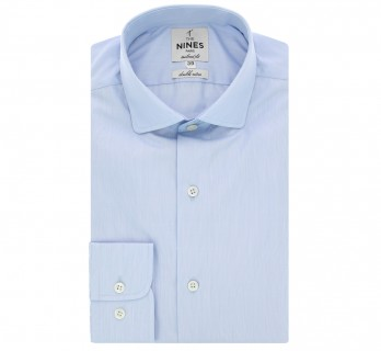 Blue rounded shark collar shirt fine stripes tailored fit