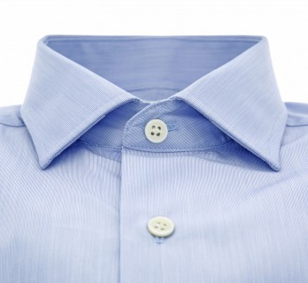 Sky blue shark collar French cuff shirt fine stripes slim fit