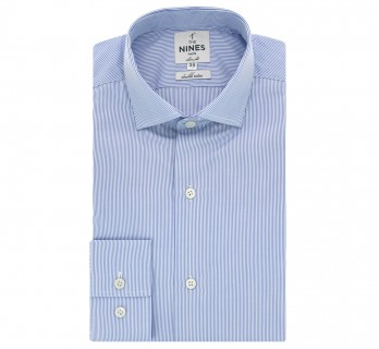 Blue shark collar shirt with stripes slim fit