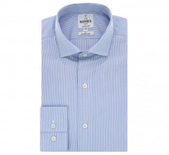 Tailored fit blue stripes classic collar shirt