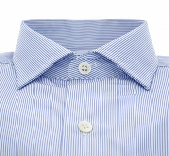 Blue shark collar shirt with stripes tailored fit