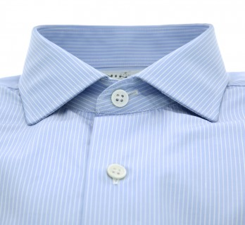Sky blue shark collar shirt blue stripes Slim-fit