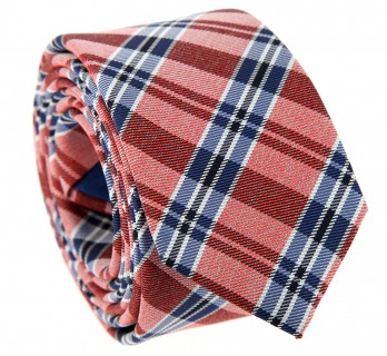 Pink tie with blue plaid pattern The Nines