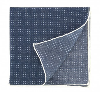 Navy blue pocket square with small dots The Nines