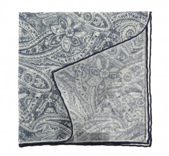 Beige pocket square with blue cashmere pattern The Nines