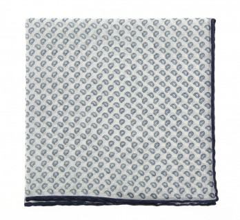White pocket square with cashmere pattern The Nines