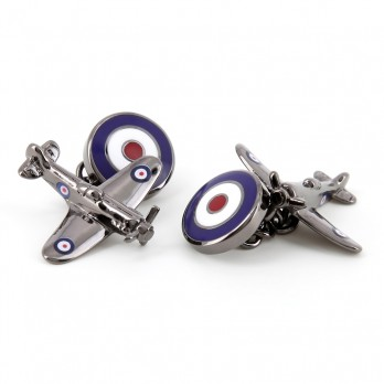 Airplane cufflinks - Spitfire 2 gunmetal