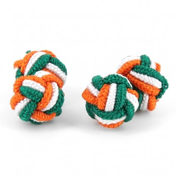 Green, white and orange silk knots - Bombay