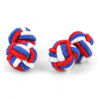 Red, blue and white silk knots - Bombay