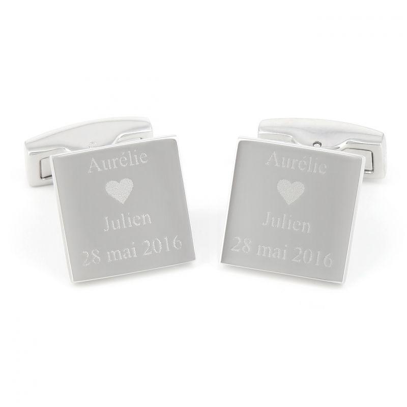 Square engravable cufflinks - Gravure