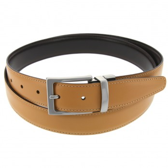 Reversible belt in dark brown and honey - James
