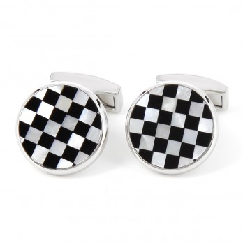 Mother of pearl and onyx Round cufflinks - Kensington