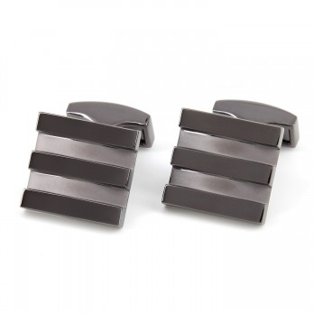 Gunmetal square cufflinks - Newport