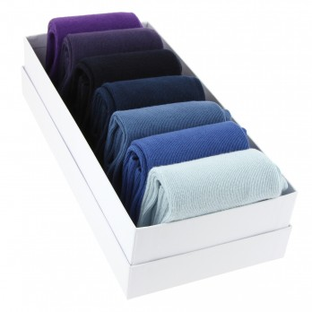 Pack of seven pairs of combed cotton socks, shade of blue