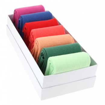 Pack of seven pairs of combed cotton socks, bright coloured
