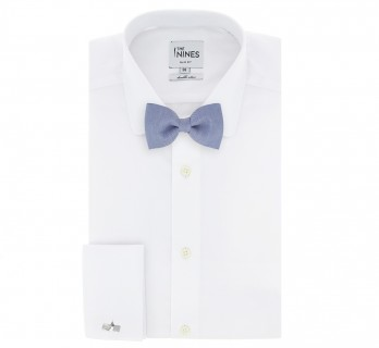 Blue Basket Weave Linen and Silk Bow Tie - Parme
