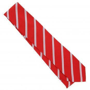 Red Tie with Navyblue and White Stripes - Boston VI
