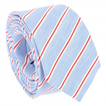 Blue tie with white and red stripes The Nines