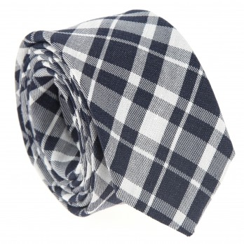 Navy blue tie with plaid pattern The Nines
