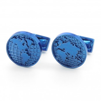 Blue world map cufflinks - Globe Trotter II
