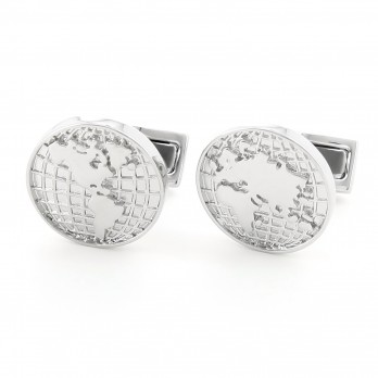 World map Rhodium cufflinks - Globe Trotter II