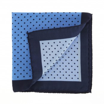 Light Blue Pocket Square With Navy Blue Polka Dots - Greco II