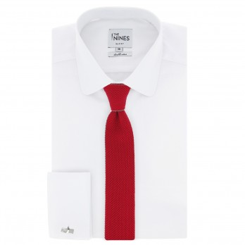 Red Knitted Cotton The Nines Reversible Tie - Avola