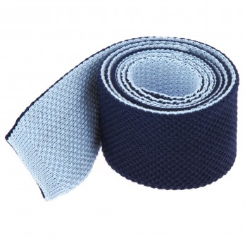Navyblue Knitted Cotton The Nines Reversible Tie - Avola