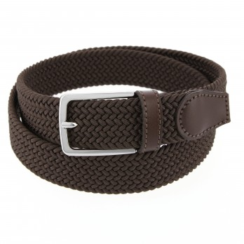 Elastic braided belt in dark brown - Rob III