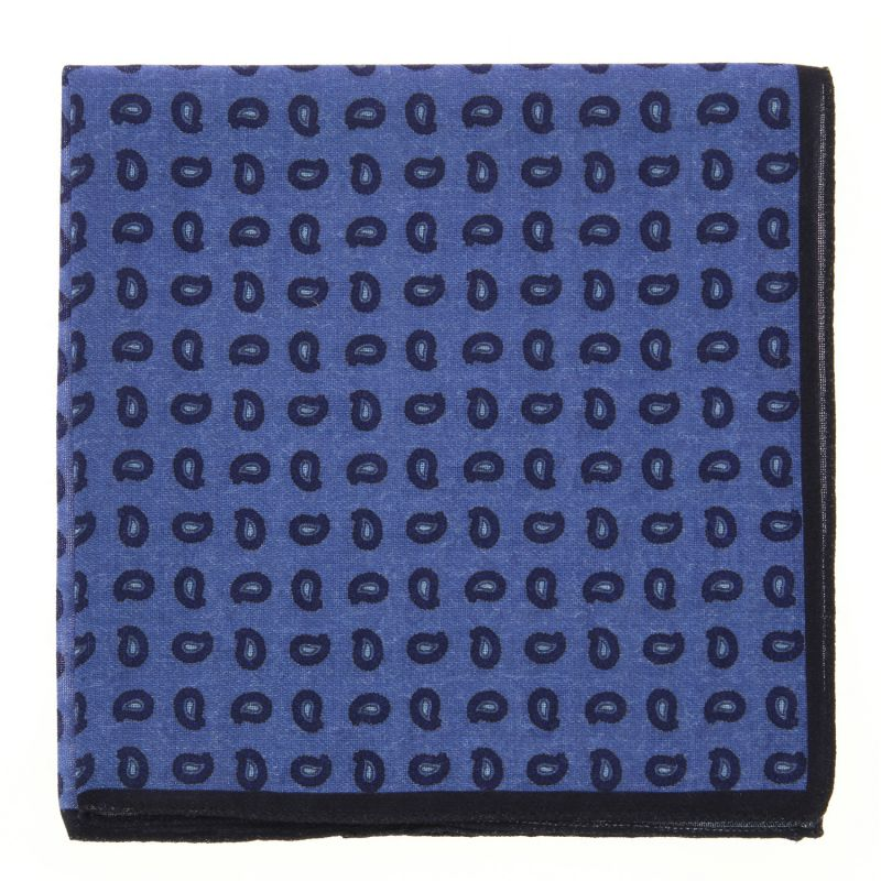 Blue pocket square with navy blue paisley pattern The Nines
