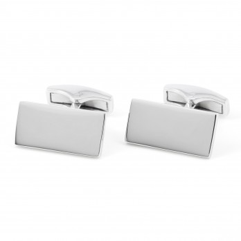 Rectangular engravable sterling silver cufflinks