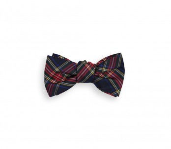 Navy Blue, Green, Red and Yellow Tartan The Nines Bow Tie - Dunbar