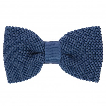 Steel Blue Knit Silk Bow Tie - Monza