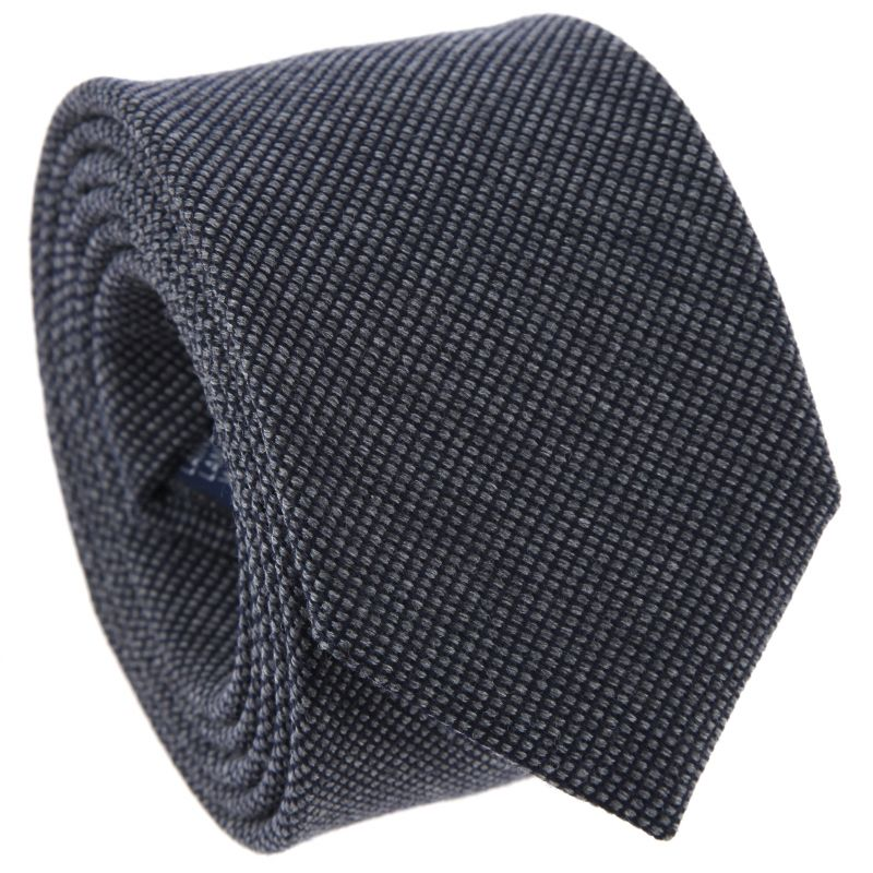 Anthracite tie in wool basket weave The Nines