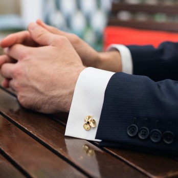 Functional gold propeller cufflinks - Brisbane II
