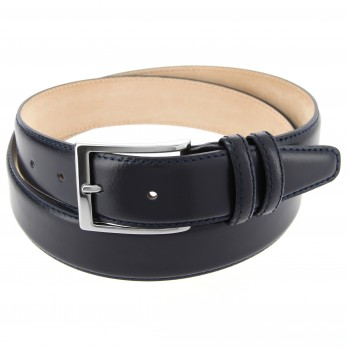 Navy blue leather belt - Daniel